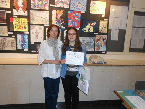 Priznanje Sferica za osvojenu 2. nagradu za rad Škola za vremenske putnike